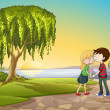 A boy and a girl in nature - Stock Vector