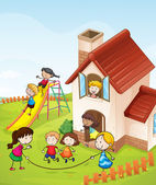 Kids and a house — Stock Vector