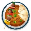 A curry and a meat - Stock Vector