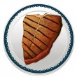 Steak and plate — Vector de stock #14743015