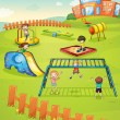 Kids and monkey bar — Stock Vector