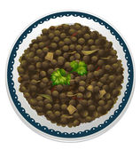 A lentils and a bowl — Stock Vector