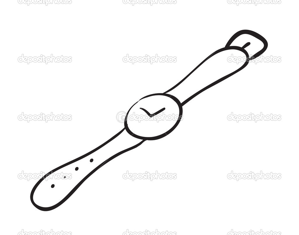 Illustration of a wrist watch sketch on a white background — Stock Vector #14743005