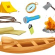 Various objects of a camp — Stock Vector #14890567