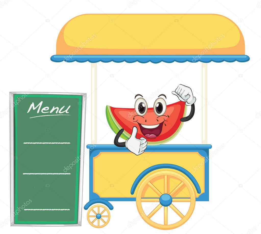 Illustration of a cart stall and a watermelon on a white background  Stock Vector #14890483
