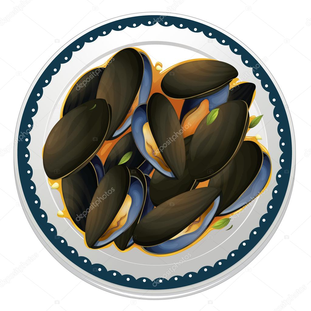 Illustration of mussels and a dish on a white background — Stock Vector #14890781