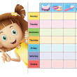 A girl and a calender — Stock Vector