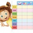A girl and a calender — Image vectorielle