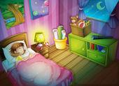 Dívka sleepin v ložnici v noci — Stock vektor