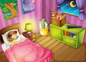 Bir kız ve bir yatak odası — Stok Vektör