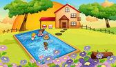 Dům a děti — Stock vektor
