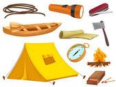 Vários objetos de camping — Vetorial Stock
