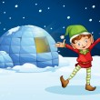 An elf and an igloo — Vector de stock #15374103