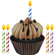 Cupcake and candles — Stockvektor #15374685