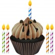 Cupcake and candles — Vector de stock #15374685