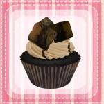 Cupcake and a wallpaper — Stock Vector #15428679
