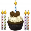 Cupcake and candles — Vector de stock #15428731