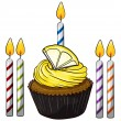 Cupcake and candles — Vector de stock #15428775