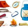 Stock Vector: Various objects of camping