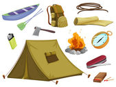 Various objects of camping — Vetorial Stock