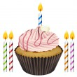 Cupcake and candles — Vector de stock #15588233