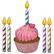 Cupcake and candles — Imagen vectorial