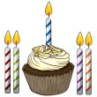 Cupcake and candles — Vector de stock