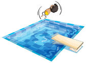 A boy and swimming pool — Stock Vector