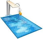 Un niño y una piscina — Vector de stock