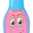 A face on a bottle — Stock Vector
