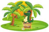 一条鳄鱼和一个珠宝盒 — 图库矢量图片
