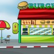 Stock Vector: A fast food restaurant