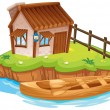 Stock Vector: A house on an island
