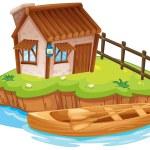 A house on an island — Stock Vector