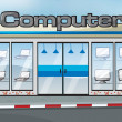 A computer shop — Stock Vector