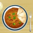 Indian food with bread — Imagen vectorial