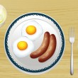 Sausages and eggs — Stock Vector