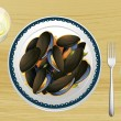 Royalty-Free Stock Vector Image: Mussel on a plate