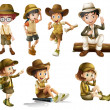 Boys and girls in safari costume — Vector de stock #17588469