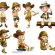 Stock Vector: Boys and girls in safari costume