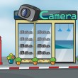 A camera store and letterbox — Vector de stock