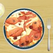 Pizza with ham — Stock Vector