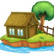 Royalty-Free Stock Vector Image: A house and tree on island