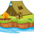Royalty-Free Stock Vector Image: Camping on an island