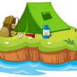 Stock Vector: Camping on an island