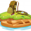 Vaious objects for camping and a canoe — Imagen vectorial