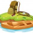 Vaious objects for camping and a canoe — Stock Vector #17588661
