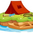 Vaious objects for camping and a canoe — Stock Vector