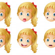 Girl faces with various expressions - Stock Vector