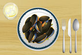 Mussel on a plate — Stock Vector